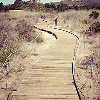 Crystal Cove wooden walkway vintage photo at Crystal Cove State Park in Laguna Beach, Orange County, California. Image Copyright © Paul Velgos All Rights Reserved.