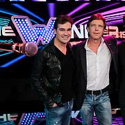 NLD/Hiversum/20120123 - Presentatie van nieuwe zangspelprogramma The Winner is …, presentatoren Beau van Erven Dorens en Jeroen van der Boom samen met bedenker John de Mol Jr.