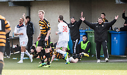 Alloa Athletic's manager Barry Smith reacts to a tackle by Falkirk's Phil Roberts, who gets a second yellow card.<br /> Alloa Athletic 3 v 0 Falkirk, Scottish Championship game played today at Alloa Athletic's home ground, Recreation Park.<br /> &copy; Michael Schofield.