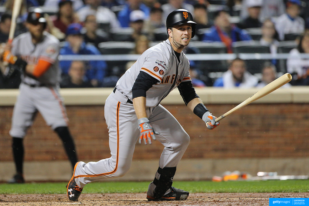 NEW YORK, NEW YORK - October 5: Buster Posey #28 of the San Francisco Giants batting during the San Francisco Giants Vs New York Mets National League Wild Card game at Citi Field on October 5, 2016 in New York City. (Photo by Tim Clayton/Corbis via Getty Images)