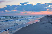 Clouds and waves just after sunset in Atlantic Beach, North Carolina