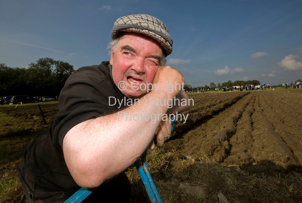 25/9/2008.Sonny Egan from Kerry takes a rest on his plough after  taking part in the Special Horse class at the National Ploughing Championships in Kilkenny..Picture Dylan Vaughan