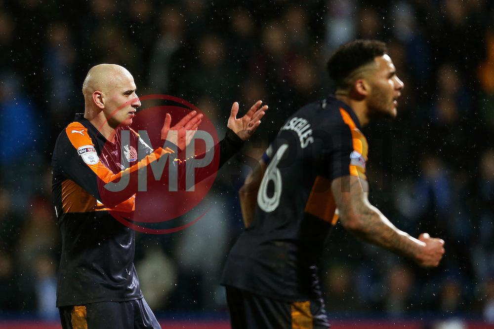 Jonjo Shelvey and Jamaal Lascelles of Newcastle United celebrate after the third goal - Mandatory by-line: Matt McNulty/JMP - 04/03/2017 - FOOTBALL - The John Smith's Stadium - Huddersfield, England - Huddersfield Town v Newcastle United - Sky Bet Championship