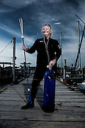 Portrait of a scuba diver Debbie Boyce of Discovery Diving in Beaufort, North Carolina.