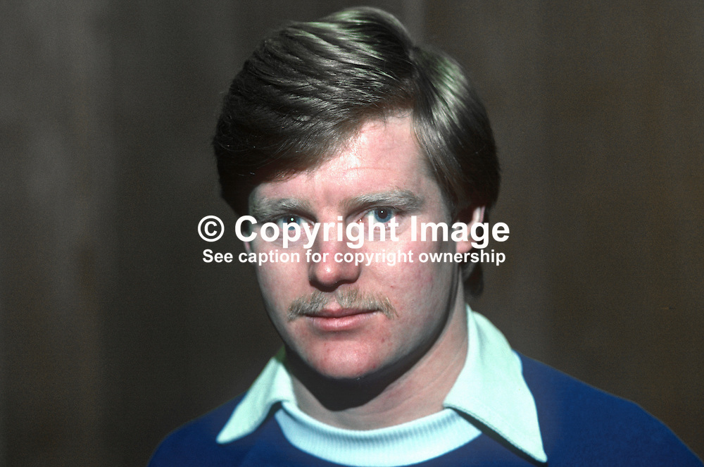 Davy Nixon, footballer, Linfield FC, Belfast, N Ireland, 198201003DN.<br /> <br /> Copyright Image from Victor Patterson, 54 Dorchester Park, Belfast, UK, BT9 6RJ<br /> <br /> t1: +44 28 9066 1296 (from Rep of Ireland 048 9066 1296)<br /> t2: +44 28 9002 2446 (from Rep of Ireland 048 9002 2446)<br /> m: +44 7802 353836<br /> <br /> e1: victorpatterson@me.com<br /> e2: victorpatterson@gmail.com<br /> <br /> The use of my copyright images is subject to my Terms & Conditions.<br /> <br /> It is IMPORTANT that you familiarise yourself with them. They are available on my website at www.victorpatterson.com.<br /> <br /> None of my copyright images may be used on a website unless they are visibly watermarked, i.e. © Victor Patterson within the body of the visible image. Metadata denoting my copyright must NOT be deleted. <br /> <br /> Web use is extra at currently recommended NUJ rates.