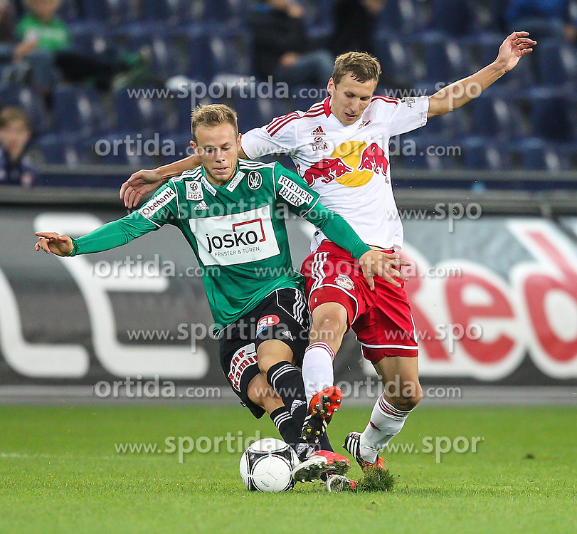 15.09.2012, Red Bull Arena, Salzburg,  AUT, 1. FBL, Red Bull Salzburg vs SV Josko Ried, 8. Runde, im Bild Marco Meilinger, (SV Josko Ried, #16) und Florian Klein, (FC Red Bull Salzburg, #8) // during Austrian Football Bundesliga Match, 8th round, between FC Red Bull Salzburg and SV Josko Ried at the Red Bull Arena, Salzburg Austria on 2012/09/15. EXPA Pictures © 2012, PhotoCredit: EXPA/ Roland Hackl