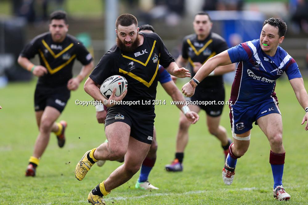 Wellington's Robin Yates  during  NZRL Pirtek National Premiership Rugby League match, Akarana Falcons v Wellington Orcas at Ellerslie Domain, Ellerslie, Auckland, New Zealand. Saturday  13 September 2014.