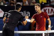 Tennis. Australian Open. Melbourne. Australia. Monday 23.1.2012.<br /> Novak DJOKOVIC (Srb) defeated Llayton HEWITT (Aus) 6:1,6:3,4:6,6:3.<br /> © ATP/ Damir IVKA<br /> <br /> - TENNIS Australian Open 2012 Melbourne - Rod Laver Arena -  - Australien - AUSTRALIE - copyright © ATP Damir IVKA