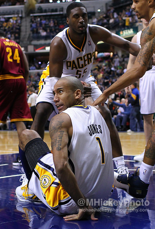 Dec. 30, 2011; Indianapolis, IN, USA; Indiana Pacers shooting guard Dahntay Jones (1) looks over at the bench after a play against the Cleveland Cavaliers at Bankers Life Fieldshouse. Indiana defeated Cleveland 81-91. Mandatory credit: Michael Hickey-US PRESSWIRE