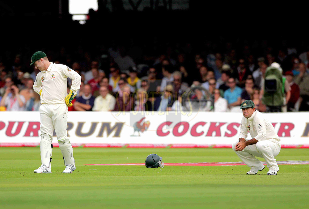 © Andrew Fosker / Seconds Left Images 2009  - no joy for Australia as Brad Haddin (L - WK)  hangs his head and captain Ricky Ponting goes down on his haunches as his side concede more runs without a wicket - England v Australia - The Ashes 2009 - Second npower Test  Match - Day 1 - 16/07/09 - Lord's Cricket Ground - St.  John's Wood - London - UK - All Rights Reserved