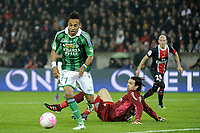 FOOTBALL - FRENCH CHAMPIONSHIP 2011/2012 - L1 - PARIS SAINT GERMAIN v AS SAINT ETIENNE - 2/05/2012 - PHOTO JEAN MARIE HERVIO / REGAMEDIA / DPPI - PIERRE EMERICK AUBAMEYANG (ASSE) / SALVATORE SIRIGU (PSG)