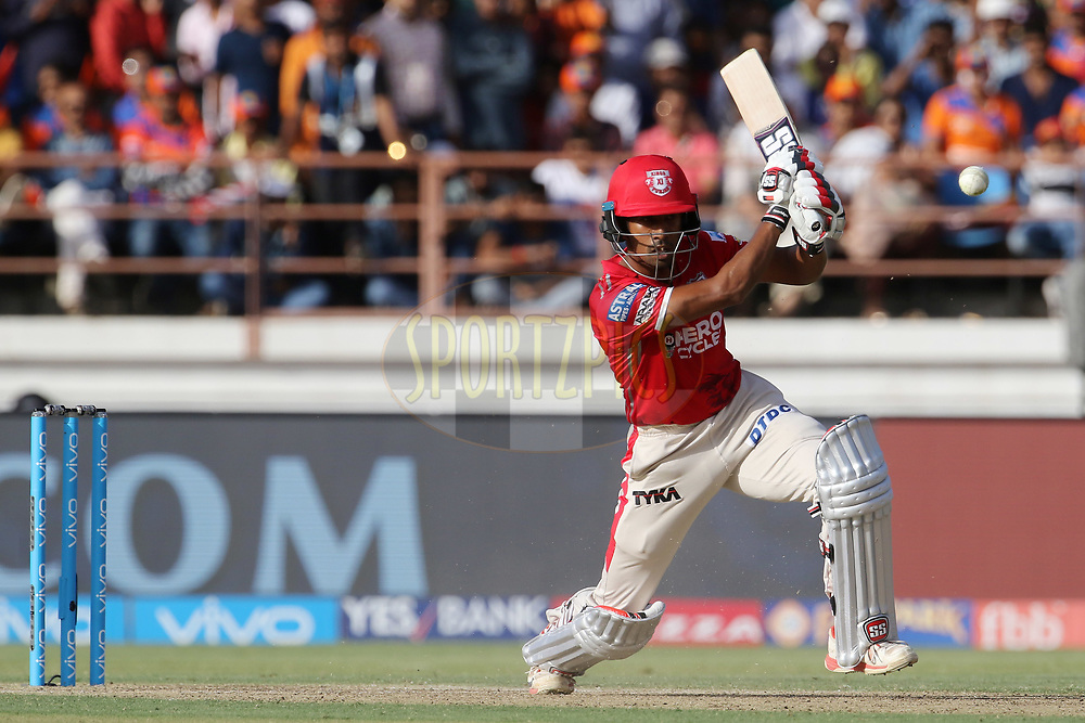 Wriddhiman Saha of Kings XI Punjab plays a shot during match 26 of the Vivo 2017 Indian Premier League between the Gujarat Lions and the Kings XI Punjab held at the Saurashtra Cricket Association Stadium in Rajkot, India on the 23rd April 2017<br /> <br /> Photo by Vipin Pawar - Sportzpics - IPL