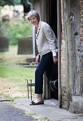 © Licensed to London News Pictures. 22/07/2018. Maidenhead, UK. Prime Minister Theresa May attends church in her constituency.   Photo credit: Peter Macdiarmid/LNP