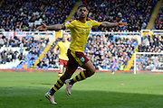 Burnley striker Andre Gray celebrates scoring goal 1-2 during the Sky Bet Championship match between Birmingham City and Burnley at St Andrews, Birmingham, England on 16 April 2016. Photo by Alan Franklin.