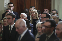 Ivanka Trump, daughter and advisor to President Donald Trump, and her husband and Senior advisor to the President, Jared Kushner attend attend a Hanukkah reception in the East Room of the White House on December 6, 2018 in Washington, DC. (Photo by Oliver Contreras/SIPA USA)