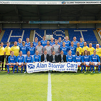 St Johnstone FC...First Team Squad 2013-14<br /> Back row from left, Scott Brown, Tom Scobbie, Gareth Rodger, Rory Fallon, Steven Anderson, Steven MacLean, Brian Easton, Gary Miller and Gwion Edwards.<br /> Middle row from left, Jocky Peebles (U20 Assistant), Ewan Peacock (U20 Coach), Fearghal Kerin (Head Physio) George Browning (U20 Goalkeeping Coach), Murray Davidson, Chris Kane, Stevie Banks, Alan Mannus, Zander Clark, David Wotherspoon, Gary McDonald, Alec Cleland (First Team Coach), Graham Kirk (Sports Scientist), Alistair Stevenson (Youth Development Manager), Tommy Campbell (Kit Manager) and Alan Lochtie (Asst Physio).<br /> Front row from left, Liam Caddis, Paddy Cregg, Chirs Millar, Dave Mackay, Tommy Wright (Manager), Steve Brown (Chairman) Callum Davidson (Assistant Manager) Frazer Wright, Nigel Hasselbaink, Stevie May and David Robertson.<br /> Picture by Graeme Hart.<br /> Copyright Perthshire Picture Agency<br /> Tel: 01738 623350  Mobile: 07990 594431