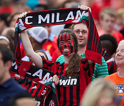 CHARLOTTE, USA - Saturday, August 2, 2014: An AC Milan supporter before the International Champions Cup Group B match against Liverpool at the Bank of America Stadium on day thirteen of the club's USA Tour. (Pic by David Rawcliffe/Propaganda)