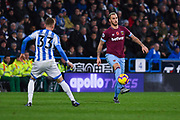 Marko Arnautovic of West Ham United (7) brings the ball down neatly with his right foot during the Premier League match between Huddersfield Town and West Ham United at the John Smiths Stadium, Huddersfield, England on 10 November 2018.