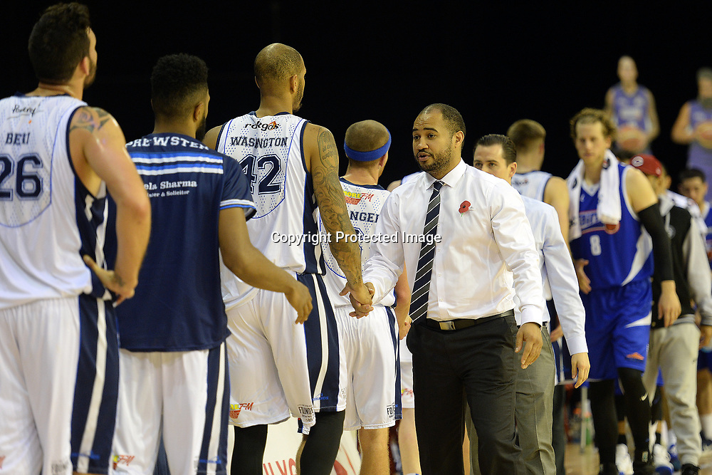 Wellington Saints' coach Kevin Braswell shakes hands with the Nelson Giants' team during the NBL match between Wellington Saints v Nelson Giants, TSB Arena, Tuesday 25th April 2017. Copyright Photo: Raghavan Venugopal / www.photosport.nz