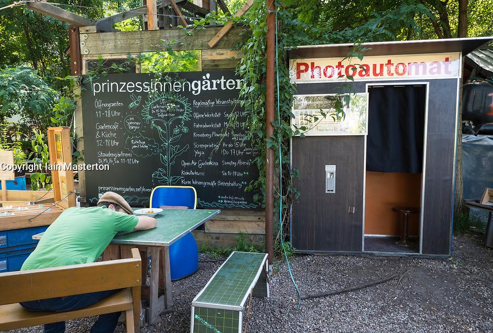 view of urban city community garden called Prinzessinnengarten in Kreuzberg, Berlin, Germany.