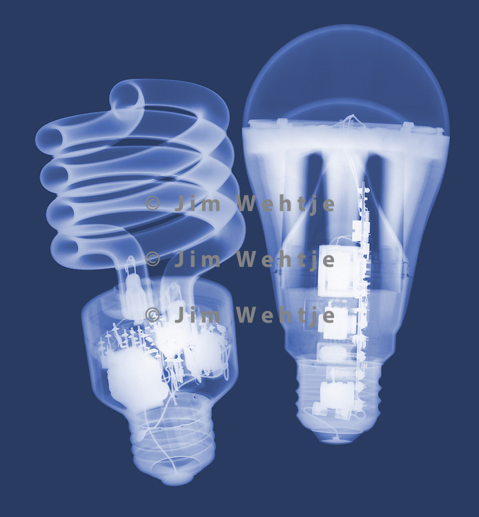 X-ray image of CFL and LED bulbs (on blue) by Jim Wehtje, specialist in x-ray art and design images.