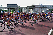 Cyclists race in the womens Olympic triathlon. Hyde Park, Central London