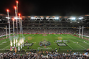 BRISBANE, AUSTRALIA - JUNE 26: A general view as the Maroons player run onto the field during game two of the ARL State of Origin series between the Queensland Maroons and the New South Wales Blues at Suncorp Stadium on June 26, 2013 in Brisbane, Australia.  (Photo by Matt Roberts/Getty Images)