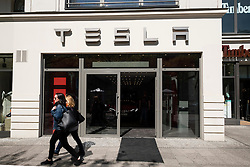 Exterior of Tesla electric car showroom on Kurfurstendamm, Kudamm, in Charlottenburg, Berlin, Germany