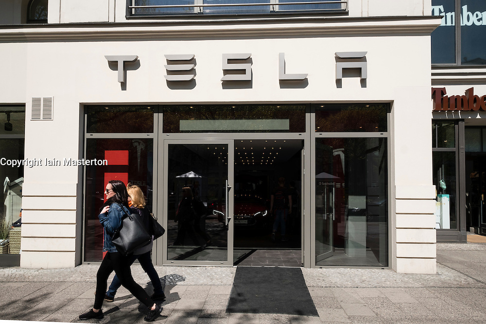 Exterior of Tesla electric car showroom on Kurfurstendamm, Kudamm, in Charlottenburg, Berlin, Germany