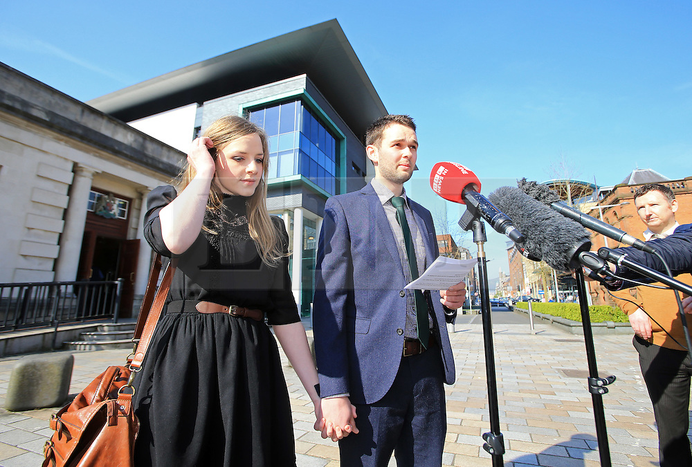 """© Licensed to London News Pictures. 9/05/2016. Belfast, Northern Ireland, UK.  Amy and Daniel McArthur from Ashers Baking Company talk to reporters as they arrive at Belfast High Court for the start of an Appeal hearing over the so called 'gay marriage cake row'. The legal appeal by Ashers Baking Company in the case is to be heard over two days. In May last year a judge at Belfast County Court ruled that the bakery had acted unlawfully. The court ordered Ashers to pay £500 damages after Judge Isobel Brownlie said the customer had been treated """"less favourably"""" contrary to the law and the bakery had breached political and sexual orientation discrimination regulations. But the McArthur family who own and run Ashers decided to challenge the ruling following consultations with their legal advisors. The family has been given the full support of The Christian Institute, which has funded their defence costs. The legal case followed a decision in May 2014 by Ashers to decline an order placed at its Belfast store by a gay rights activist who asked for a cake featuring the Sesame Street puppets, Bert and Ernie, and the campaign slogan, 'Support Gay Marriage'. The customer also wanted the cake to feature the logo of a Belfast-based campaign group QueerSpace. Ashers, owned by Colin and Karen McArthur, refused to make the cake because it carried a message contrary to the family's firmly-held Christian beliefs. They were supported by their son Daniel, the General Manager of the company. But the Equality Commission for Northern Ireland (ECNI) launched a civil action against the family-run bakery, claiming its actions violated equality laws in Northern Ireland and alleging discrimination under two anti-discrimination statutes – The Equality Act (Sexual Orientation) Regulations (NI) 2006 and The Fair Employment and Treatment (NI) Order 1998. Photo credit : Paul McErlane/LNP"""