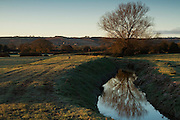 Dawn over The Meads, near Bridgwater, Somerset on a frosty morning. A tree is reflected in Durleigh Brook.