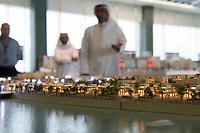 08 APR 2013, DOHA/QATAR<br /> Ausschnitt eines Modells des Projekts Lusail City, hier Qetaifan Islands, - ein Urbanisierungs-Projekt entlang der Ostkueste unmittelbar noerdlich der Stadt Doha, der Hauptstadt von Katar - in den Raeumen der Qatari Diar Real Estate Investment Company<br /> IMAGE: 20130408-01-<br /> KEYWORDS: Katar, Retortenstadt, Planstadt