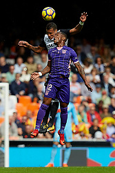 November 4, 2017 - Valencia, Valencia, Spain - Murillo (L) of Valencia CF heads the ball next to Beauvue of CD Leganes during the La Liga match between Valencia CF and CD Leganes at Mestalla Stadium on November 4, 2017 in Valencia, Spain. (Credit Image: © David Aliaga/NurPhoto via ZUMA Press)