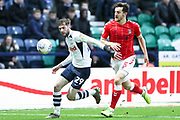 Preston North End forward Tom Barkhuizen (29) during the EFL Sky Bet Championship match between Preston North End and Charlton Athletic at Deepdale, Preston, England on 18 January 2020.