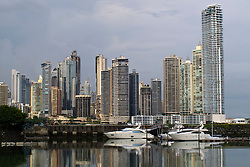 General view of sky scrapers / skyline with bay / water view and boats, Panama City, Panama