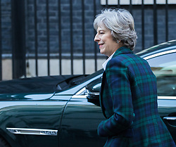 Downing Street, London, January 17th 2017. British Prime Minister Theresa May returns to 10 Downing Street following Her Brexit Speech at Lancaster House