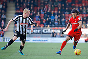 Leyton Orient midfielder Sandro Semedo (22) takes on Notts County defender Josh Clackstone (23) during the EFL Sky Bet League 2 match between Leyton Orient and Notts County at the Matchroom Stadium, London, England on 18 February 2017. Photo by Andy Walter.
