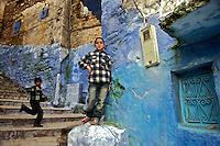 Boys in the town of Chaouen, Morocco.