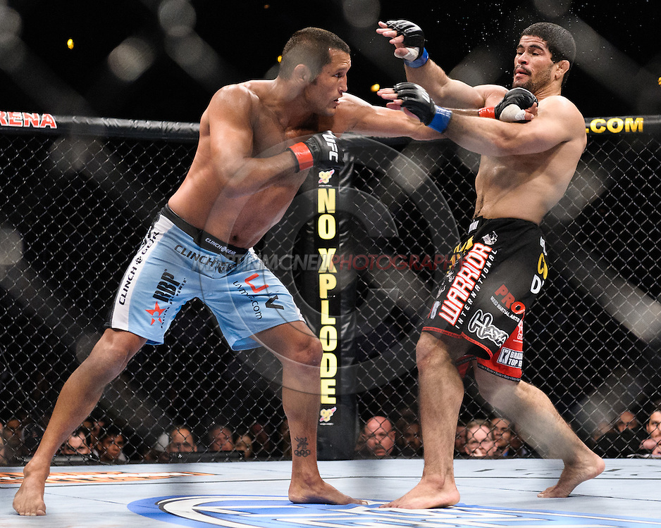 """ATLANTA, GEORGIA, SEPTEMBER 6, 2008: Dan Henderson (left) catches Rousimar Palhares with a straight left during """"UFC 88: Breakthrough"""" inside Philips Arena in Atlanta, Georgia on September 6, 2008"""