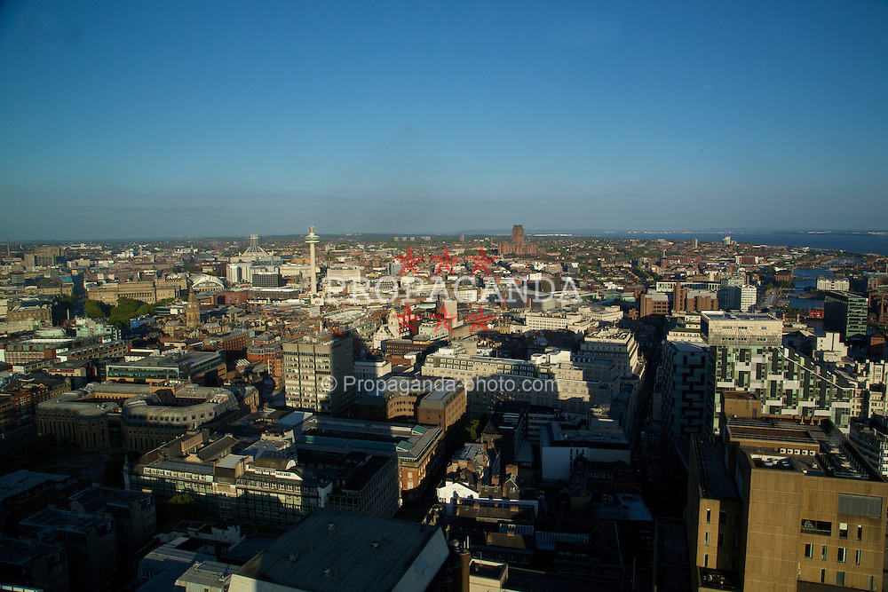 LIVERPOOL, ENGLAND - Saturday, June 21, 2014: Views across Liverpool from floor 38 of the West Tower at a players' dinner during Day Three of the Liverpool Hope University International Tennis Tournament. (Pic by David Rawcliffe/Propaganda)