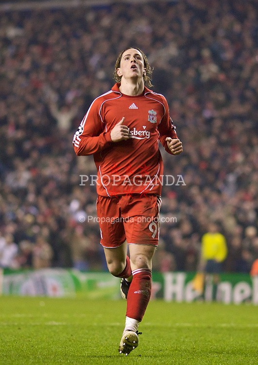 LIVERPOOL, ENGLAND - Tuesday, February 19, 2008: Liverpool's Fernando Torres rues a missed chance during the UEFA Champions League First Knockout Round 1st Leg match against FC Internazionale Milano at Anfield. (Photo by David Rawcliffe/Propaganda)