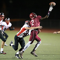 (Photograph by Bill Gerth for SVCN) Westmont  #45 Cameron Christopherson  makes the stop vs San Jose in a BVAL Football Game at San Jose High School, San Jose CA on 10/7/16.  (Westmont 28 San Jose 20)