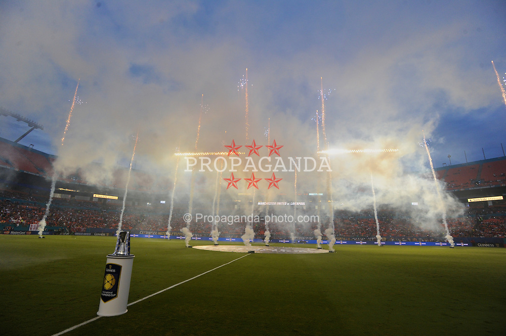 MIAMI, USA - Monday, August 4, 2014: Fireworks before the International Champions Cup Final match between Liverpool and Manchester United at the SunLife Stadium on day fifteen of the club's USA Tour. (Pic by David Rawcliffe/Propaganda)