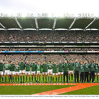 11 February 2007; The Irish team lineup for the National Anthem before the game. RBS Six Nations Rugby Championship, Ireland v France, Croke Park, Dublin. Picture Credit: Matt Browne / SPORTSFILE
