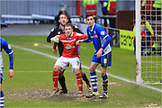 Ryan Seager, Josh Lillis, Matt Lund during the Sky Bet League 1 match between Crewe Alexandra and Rochdale at Alexandra Stadium, Crewe, England on 6 February 2016. Photo by Daniel Youngs.