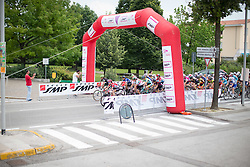 The peloton crosses the intermediate sprint point during the Giro Rosa 2016 - Stage 1. A 104 km road race from Gaiarine to San Fior, Italy on July 2nd 2016.