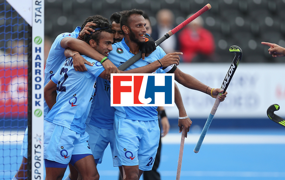 LONDON, ENGLAND - JUNE 14:  Chandanda Thimmaiah of India celebrates after scoring their second goal during the FIH Mens Hero Hockey Champions Trophy match between India and Korea at Queen Elizabeth Olympic Park on June 14, 2016 in London, England.  (Photo by Alex Morton/Getty Images)