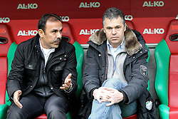 """28.01.2012, SGL Arena, Augsburg, GER, 1. FBL, FC Augsburg vs 1. FC Kaiserslautern, 19. Spieltag, im Bild Trainer Jos LUHUKAY (FC Augsburg) und Geschaeftsfuehrer Andreas RETTIG (FC Augsburg) v.l. // during the football match of the german """"Bundesliga"""", 19th round, between FC Augsburg and 1. FC Kaiserslautern, at the SGL Arena, Augsburg, Germany on 2012/01/28. EXPA Pictures © 2012, PhotoCredit: EXPA/ Eibner/ Peter Fastl..***** ATTENTION - OUT OF GER *****"""
