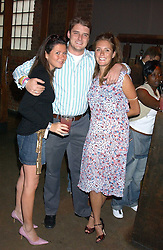 Left to right, NATHALIE POSNER, CHARLES BEAMISH and his sister LEO BEAMISH at a Jewellery launch party with designs by Helena Clegg held at The Collection, 264 Brompton Road, London on 26th July 2005.<br /> <br /> NON EXCLUSIVE - WORLD RIGHTS