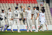 Jack Brooks of Yorkshire celebrates taking the wicket of Lewis McManus of Hampshire during the Specsavers County Champ Div 1 match between Hampshire County Cricket Club and Yorkshire County Cricket Club at the Ageas Bowl, Southampton, United Kingdom on 1 September 2016. Photo by Graham Hunt.